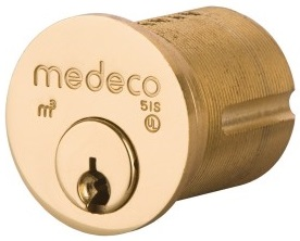 Bronze Medeco High Security Lock With Circular Design and Cylindrical tube