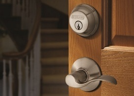 Lockset with Styled Handle on Brown Wooden Door