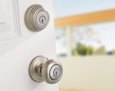Lockset with Circular Door Knob on White Door